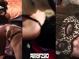 Zhelia Cougar Blonde Baise Avec Deux Jeunes Dans Le Sous-sol